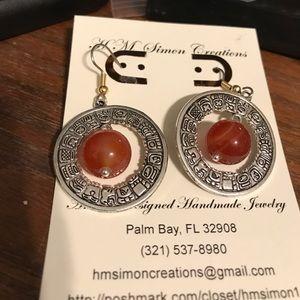 Wavy Orange Onyx Bead Tibetan Silver Earrings