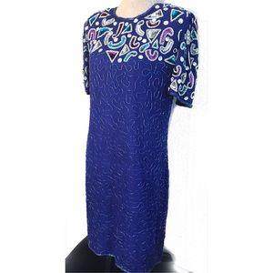 Vintage Dresses - Vintage Beaded Sequin Cocktail Dress