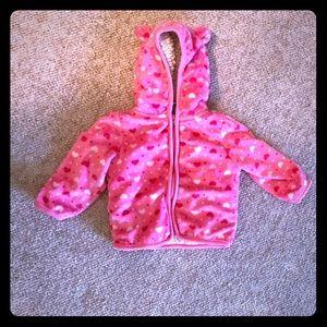 Pink Heart Warm Hoodie Coat
