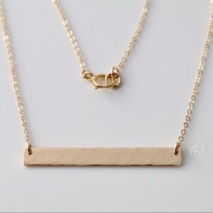 Jewelry - 14K Gold-Filled Sparkly Textured Bar Necklace