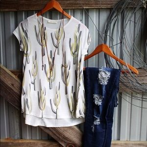 Cactus Print top with Back Slits