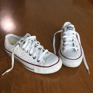 White Eyelet Ox Trainers, Converse, sz 7