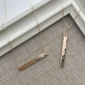 Jewelry - 14K Gold-Filled Textured Bar Necklace