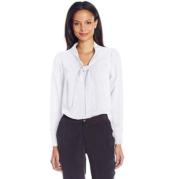 c1bfd8ef Kensie Women's Drapey Crepe Tie Neck Blouse, White Boutique