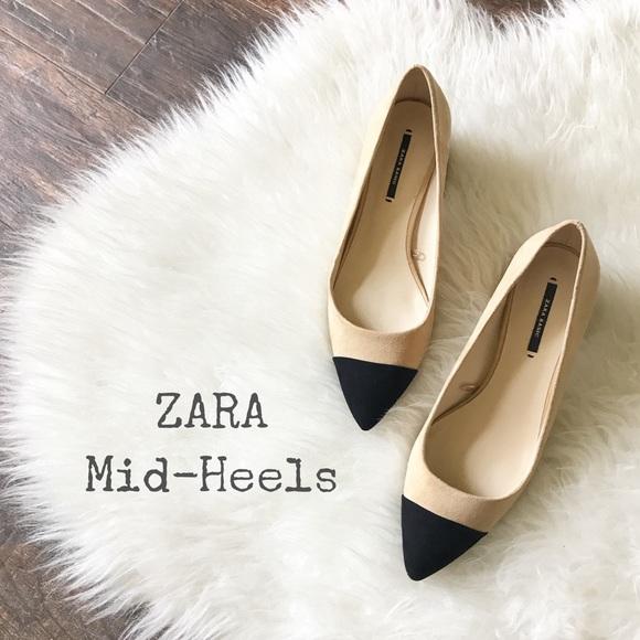 bffe7a86695d Mid-Heel Shoes w  Contrasting Toe Cap by ZARA. M 598e043f6d64bce71e08d26d