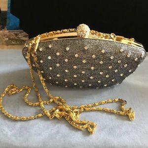 Handbags - Gorgeous evening bag silver & gold w/rhinestones