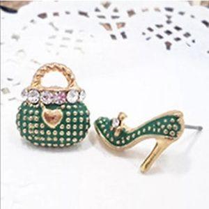 Jewelry - Green Asymmetrical Purse/Heel Earrings