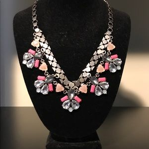 Jewelry - Silver and Pink Statement Necklace