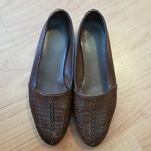 Predictions brown leather slip-on shoes