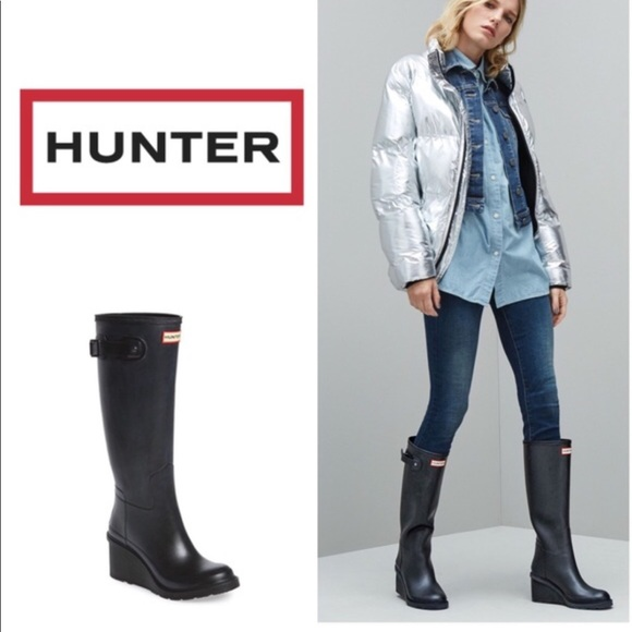 ab8f38ff57a Hunter Boots Shoes - Hunter Original Refined Wedge Rain Boots ☔ ☃️