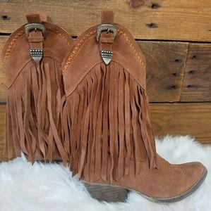 6d50f3208fe Brown suede fringe boots