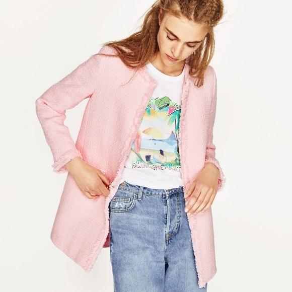 372bee4c445 New Zara Light Pink Textured Tweed Frock Coat Sz S NWT