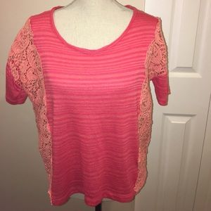 Free People Coral Peach Striped Top