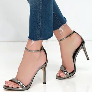 Steve Madden Stecy Pewter Gray Strappy Heels