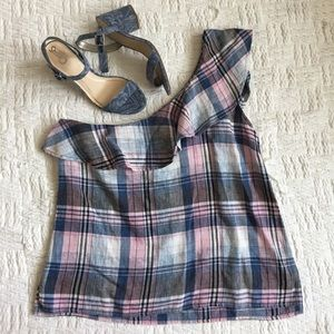 Cloth & Stone Plaid Ruffle One-Shoulder Blouse