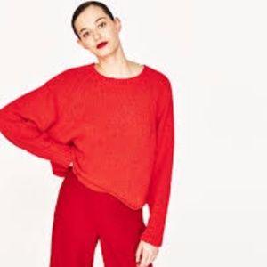 Zara Knit Cropped Round Neck Sweater
