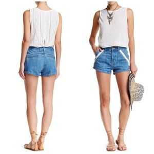 Free People Denim Sweet Surrender Lace Shorts