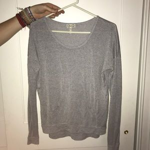 Gray sweater with front pocket
