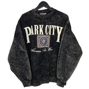 Vintage Park City Acid Wash Crewneck Sweatshirt