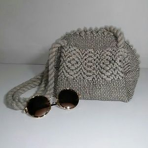 Vintage Grey Wool Boho Woven Purse