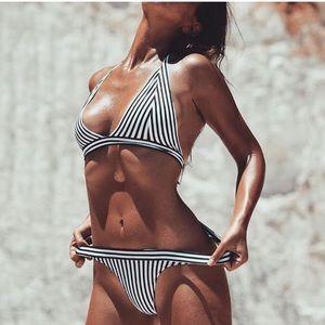 Other - Black and White Striped Brazilian Bikini