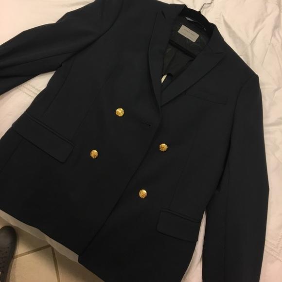 ZARA men's navy, with gold buttons blazer jacket NWT