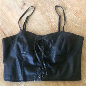 Tops - Black Faux Leather Bralette