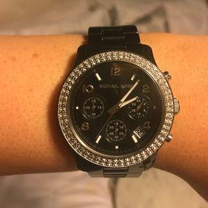 Michael Kors Black Ceramic Runway Glitz Watch