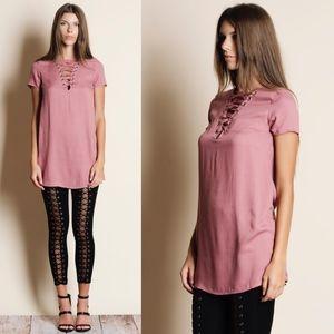 LA - Lace-up Dress/Top - MAUVE
