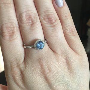 Jewelry - Diamonique 100-Facet Ring, Platinum Clad Size 10