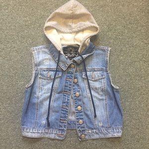 Jackets & Blazers - Distressed denim jacket vest w/hoodie large
