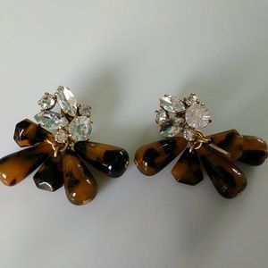 J. Crew crystal and tortoise cluster earrings