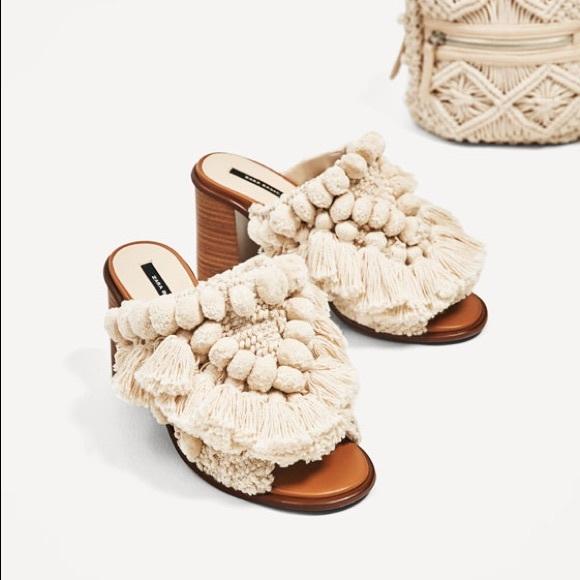 803df86ab2ec Zara high heel mules pompom ecru slides sandals 6
