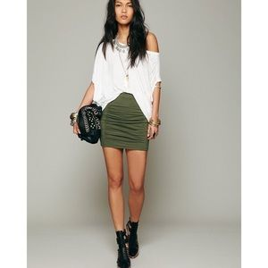 Free People High Waist Green Scrunch Skirt