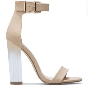 NWT ShoeDazzle Nude Ombre Strappy Clear Heels