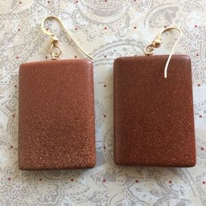Wirequeen Sunstone Beveled Square Earrings