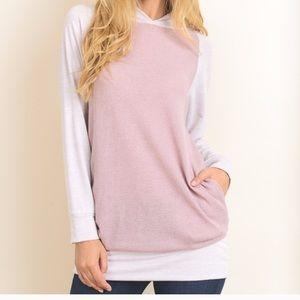 Sweaters - Mauve Color Block Hoodie
