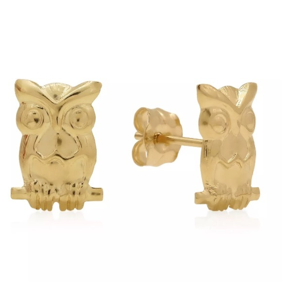 134199072 Accessories | 14k Solid Yellow Gold Owl Stud Earrings | Poshmark