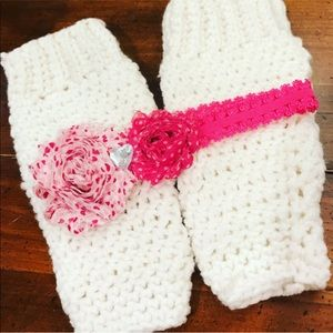 Baby headband and leg warmer set