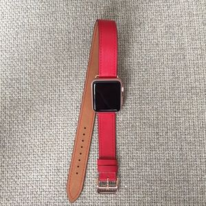 Other - 🎀Red Apple Watch Double Tour band with ROSE GOLD!