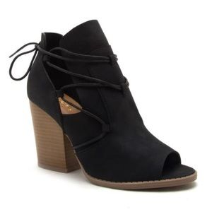 Shoes - Coming Soon! Black Open Toe Tie Bootie