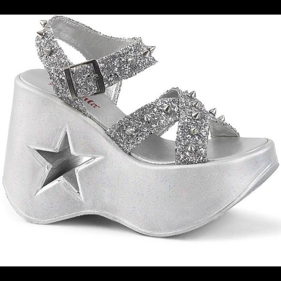 8e4ac65f492 Demonia silver glitter platform sandals