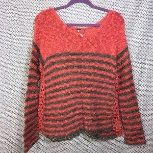 Free People Orange Gray Striped Nubby Knit Sweater