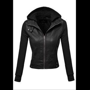 Jackets & Blazers - Black faux leather jacket plus size