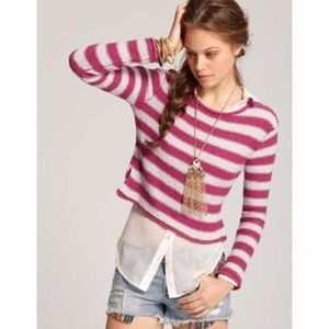 Free People FP Beach Pink Striped Crop Sweater