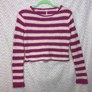 Free People FP Beach Pink Striped Crop Sweater