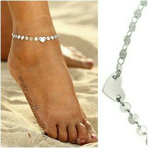 Jewelry - Dainty Silver Heart Anklet / Ankle Bracelet