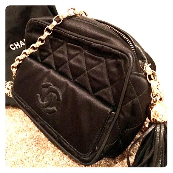72d2cf14da11 CHANEL Bags | Vintage Black Satin Quilted Bag | Poshmark