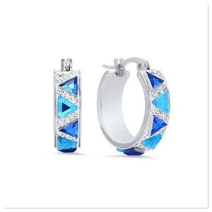 Blue Cubic Zirconia Hoop Earrings