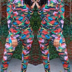 Other - NWT Multicolored Camouflage Sweatsuit